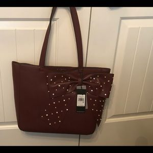 Karl lagerfeld burgundy studded bow tote